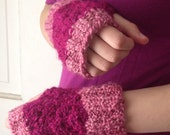 Pink Fingerless Gloves - Two Tone Raspberry Strawberry Clearance, Black Friday Deals