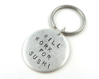 Custom Keychain: Personalized Graduation Gift (Will Work for Sushi) - One Side Only