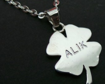 Engraved Name Shamrock Necklace Pendant - Personalised Engraved Jewelry - Personalized Gifts
