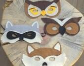 Woodland Felt Masks Craft Set of 4. Raccoon, Owls, and Fox.