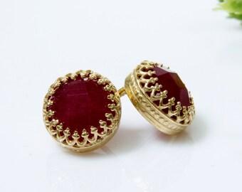SALE - ruby earrings,July birthstone earrings,gold earrings,post earrings,stud earrings,gold studs