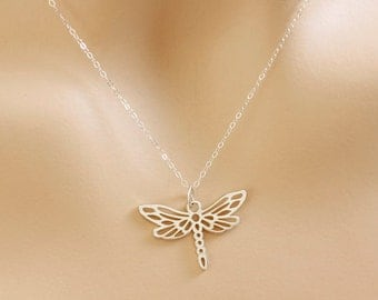 Sterling Silver Dragonfly Necklace, simple, everyday, gift