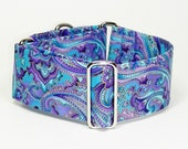 Blue and Purple Paisley, Martingale Collar, Sighthound Collar, Galgo Collar, Greyhound Martingale, Hound Collar, Paisley Collar