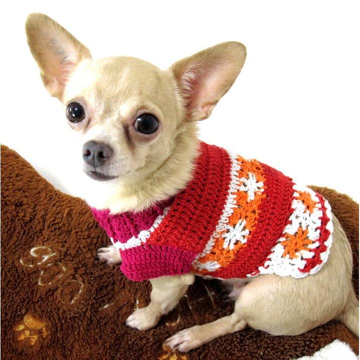 Crochet Xxs Dog Sweater : Red Teacup Sweater Flower Crochet XXS Dog Clothes by by myknitt