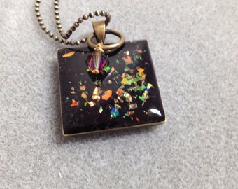 Black opal glitter resin pendant