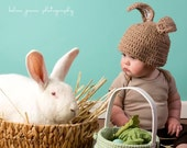 Velveteen Easter Bunny Rabbit Crochet Baby Hat- Brown White Soft Cozy Cuddle 13 Colors!