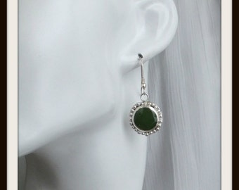 OOAK artisan earrings solid silver and jade disc for woman