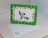 Green and Blue Ladybug Floral Garden Rose Greeting Card