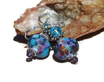 Artisan Lampwork Earrings - Clear with speckle of Aqua, Lavender, purple and amber