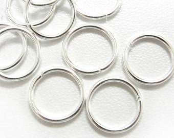 10mm Jump Rings : 100 Silver Plated Open Jump Rings 10mm x 1.2mm (17 Gauge) -- Lead, Nickel, & Cadmium free Jewelry Findings 10/1.2-3