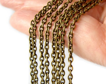 Antique Bronze Oval Link Chain | Brass Ox Cable Chain 3mm x 2mm x .5mm [Choose 3 feet or 16 feet] -- Lead & Nickel Free 079.1