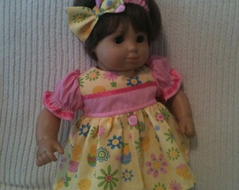 15 inch doll (modeled by Bitty Baby) Pink and yellow Spring dress, matching headband and shoes