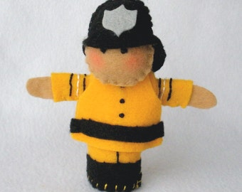 Fireman Felt Finger Puppet,  Hand Stitched 3D Puppet, Yellow and Black Fire Fighter
