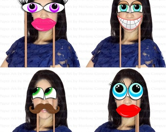 Photo Booth Props - Party Photo Booth Props, Mustache, Lips and Eyes photo booth props, Weeding, Printable - INSTANT DOWNLOAD