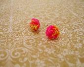 Pink Yellow Flower Earrings, Resin Earrings, Resin Cabochons, Cabochons Earrings, Flower Earrings, Rose Earrings, Pink Earrings