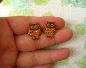 Brown Owl Earrings,  Owl Pendant, Brown Owl Bird Buttons Earrings