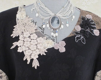 Multistrand Beaded CAMEO NECKLACE - Victorian BRIDE - White Beads and Crystal Choker