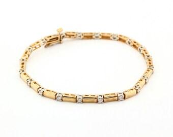 14k  two Tone White/ Yellow Gold Diamond Bracelet