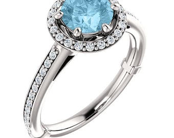 7mm Round Natural Aquamarine  1.25 ct  Solid 14K White Gold Diamond Engagement Ring - ST233280