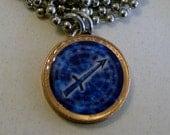 "Lucky Penny Pendant Astrology SAGITTARIUS Charm 24"" Necklace Birthday Nov. 23-Dec. 22"