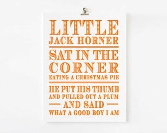 Little Jack Horner Nursery Rhyme Wall Art // Children's Art Print // kids wall art // Children's nursery art // Nursery Rhyme Wall art