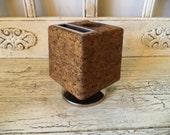 Vintage Desk Organizer - Cork Cube Desk Caddy