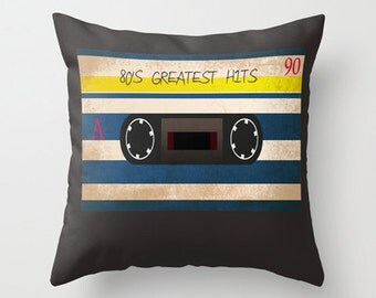 Throw Pillow Cover - 80's Greatest Hits Cassette Tape - 16x16, 18x18, 20x20 - Nursery Baby Original Design Home Décor by Adidit