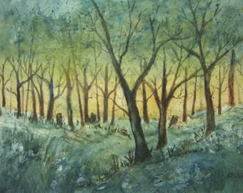 Original Watercolor landscape painting - 11x15, watercolor art, tree art, landscape art, blue, green, mountain painting,forest painting