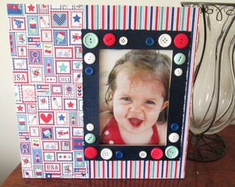 5x7 Patriotic Themed - Hand Decorated Picture Frame