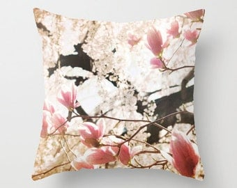 Pillow Cover, Magnolia Blossom Pillow Cover, Pink throw Pillow, Pink Flower Pillow, Decorative Photo Pillow, living room decor, 16x16 18x18