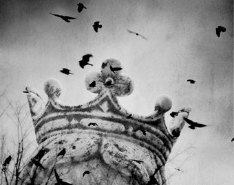 Fairytale Photograph, Black and White Surreal Princess Print, Crown Crows Gray White Dreamy Wall Art 8x10