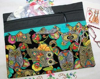 Black Teal Mod Owls Cross Stitch, Sewing, Embroidery Project Bag