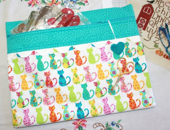 Bright Calico Kitties Cross Stitch, Sewing, Embroidery Project Bag