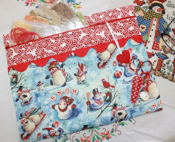 Glittery Snowman Cross Stitch, Sewing, Embroidery Project Bag