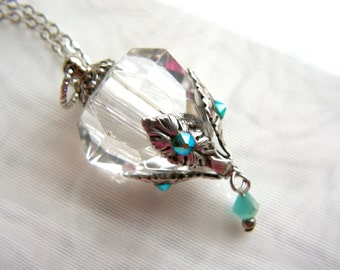 Crystal Diamond And Silver Essential Oil / Perfume Bottle Necklace