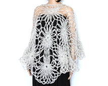 Sale- Gray Crocheted Wrap and Shawl, Women's Handmade Clothing With a touch of shine