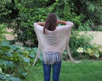 Beige Wraps Shawl, Cream scarf  Wraps Shawl, Knit Shawl, Womens Knit Shawl, Women's Clothing Accessories
