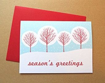 Christmas Cards, Holiday Cards, Snowy Trees Winter Scene, 25-Count