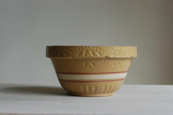 Vintage Yellow Ware Bowl, Stoneware Mixing Bowl, Roseville Bowl