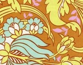 AMY BUTLER FQ Temple Tulips Ab64 Cinammon Brown Soul Blossoms Quilt Fabric
