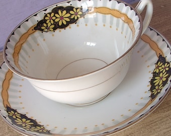 Antique 1920's Star Paragon china tea cup and saucer, black and orange tea cup set, English tea cup set, antique tea cup, bone china tea set