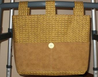 Adult Unisex Cotton Walker Bag Tote Caddy - Brown & Gold Bag 3 Straps, Dark Beige Pockets,  Button
