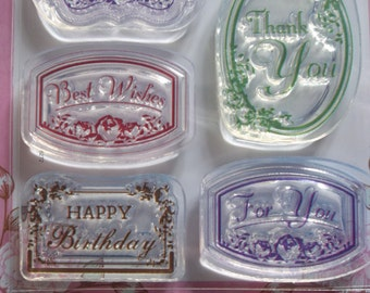 Vintage Style Labels Rubber Stamps 7 Sayings in Fancy Frames Birthday Congratulations Thinking of You Best Wishes Thank You For You (091025)