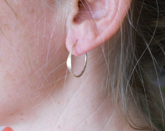 X small 14k gold filled Hammered Hoops