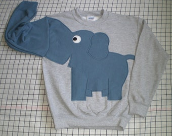 Children's gray sweatshirt with steel blue elephant. Elephant trunk shirt, elephant shirt. Small, medium, large