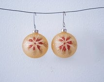 Set of 2 Rusty Peach Fireworks Christmas Glass Ornaments