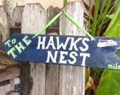 SEATTLE SEAHAWKS-Seattle Hawk's Nest Directional Arrow with Mileage from Your House to The Hawk's Nest