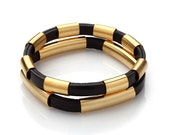 Black Leather and Gold Tube Bracelet Duo