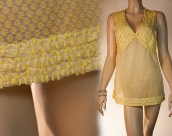 Lovely self patterned soft and sparkly frill trimmed see through lemon nylon Raebel & Sohn 1960's vintage Baby Doll nightdress  - 2494