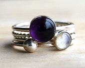 Amethyst Sterling Silver Stacking Ring Set, VELVET